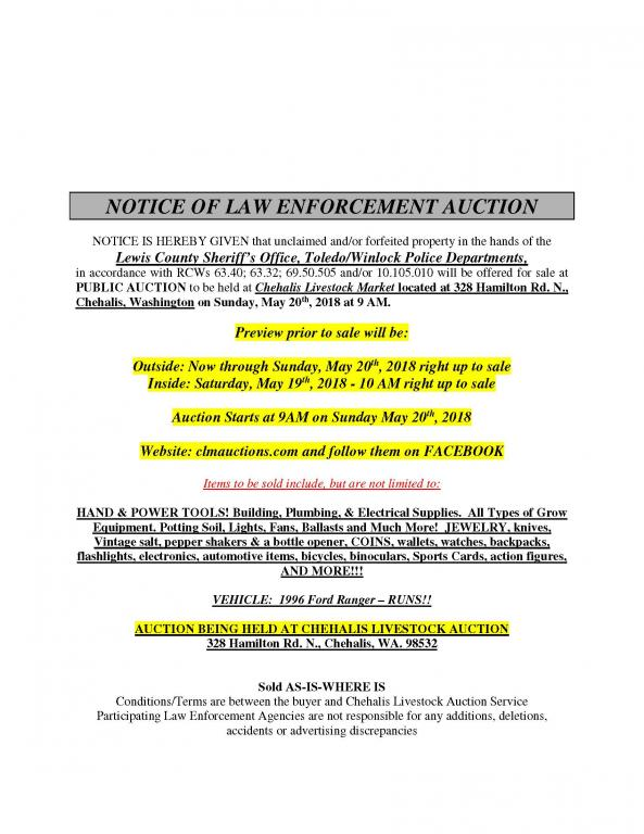 Notice of Law Enforcement Auction - May 20, 2018